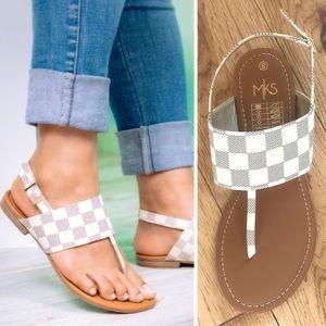 Boutique Checker Banded T-Strap Slingback Sandal